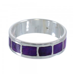 Silver And Magenta Turquoise Inlay Ring Size 8-1/2 VX59013
