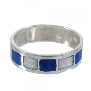 Authentic Sterling Silver Lapis And Opal Inlay Southwest Ring Size 6-1/4 RX59215