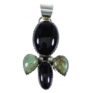 Navajo Turquoise And Onyx Sterling Silver Pendant EX57077