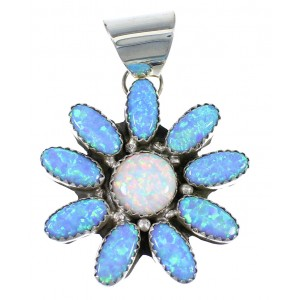 Blue And White Opal Navajo Sterling Silver Pendant EX57080