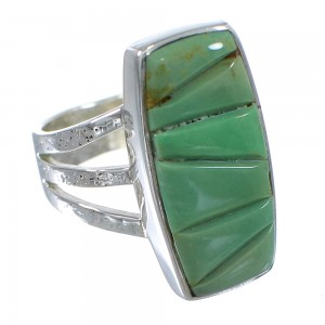 Turquoise Inlay And Genuine Sterling Silver Southwest Ring Size 6-1/4 VX57366