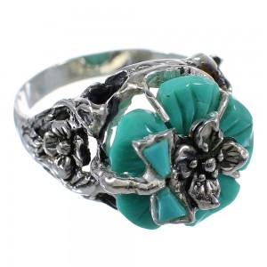 Turquoise Flower Dragonfly Genuine Sterling Silver Ring Size 7-1/4 RX82712
