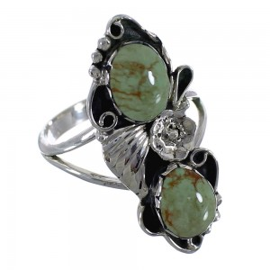 Southwest Turquoise Sterling Silver Flower Ring Size 8-1/4 RX60179