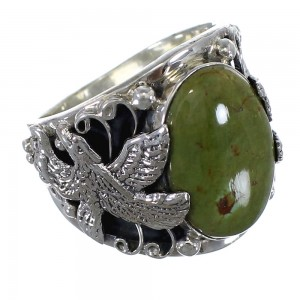 Southwest Eagle Sterling Silver Turquoise Ring Jewelry Size 11-3/4 RX59288