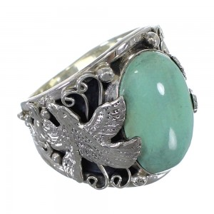 Turquoise Southwest Sterling Silver Eagle Ring Size 10-3/4 RX59460