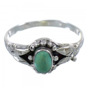Authentic Sterling Silver And Southwest Turquoise Ring Size 5-1/2 RX59627