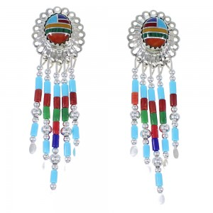 Multicolor Sterling Silver Concho Bead Earrings EX57638
