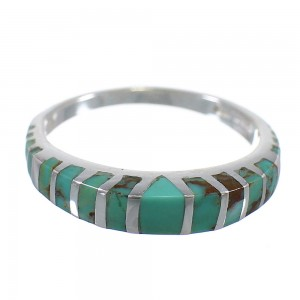 Turquoise Inlay Authentic Sterling Silver Jewelry Southwestern Ring Size 7-1/2 AX80054