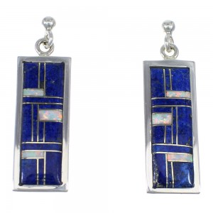 Southwestern Lapis And Opal Inlay Sterling Silver Post Dangle Earrings WX57821