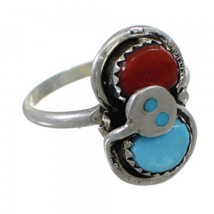 Effie Calavaza Zuni Indian Turquoise Coral Silver Snake Ring Size 8 EX58115