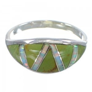 Southwestern Turquoise And Opal Sterling Silver Ring Size 7-1/4 AX82771