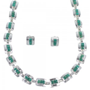 Turquoise Inlay Southwest Sterling Silver Necklace And Earring Set EX60938