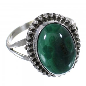 Malachite Authentic Sterling Silver Ring Size 6-3/4 RX63084