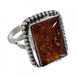 Amber And Sterling Silver Native American Ring Size 6-1/4 RX63443