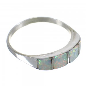 Native American Indian Opal Inlay Silver Ring Size 6-1/4 EX58585