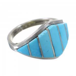Native American Turquoise Inlay Silver Ring Size 6-3/4 EX58644