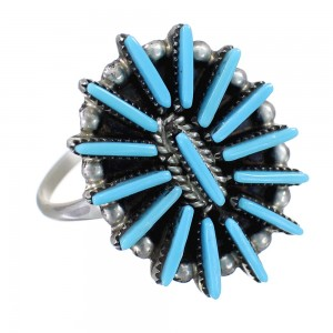 Zuni Indian Turquoise Needlepoint Silver Ring Size 8-3/4 EX60579