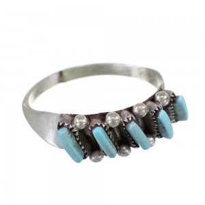 Turquoise Needlepoint Zuni Sterling Silver Ring Size 6-1/2 EX60993