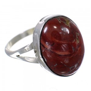 Native American Jasper And Sterling Silver Ring Size 6-1/4 RX62570