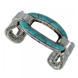 Heavy Southwest Sterling Silver And Turquoise Cuff Bracelet Jewelry VX60979