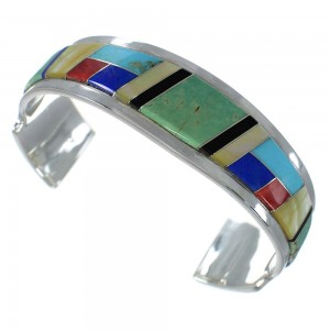 Genuine Sterling Silver Multicolor Cuff Bracelet VX60611