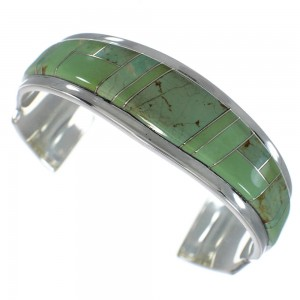 Authentic Sterling Silver Turquoise Inlay Southwest Cuff Bracelet VX60543
