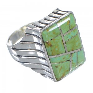 Southwestern Turquoise Sterling Silver Ring Size 12-3/4 RX59696