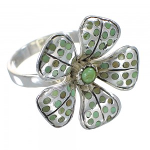 Sterling Silver Southwest Turquoise Flower Ring Size 5 RX60485