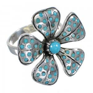 Flower Authentic Sterling Silver Southwest Turquoise Ring Size 6 MX60014