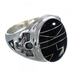 Sterling Silver And Jet Inlay Southwest Ring Size 12-3/4 WX60377