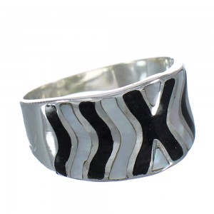 Mother Of Pearl Jet Sterling Silver Southwest Jewelry Ring Size 8-1/2 RX92417