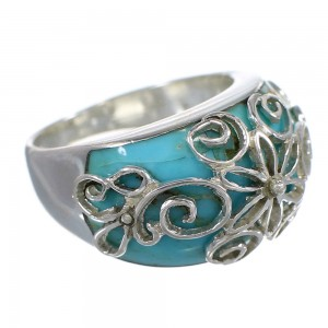 Southwestern Turquoise Inlay Authentic Sterling Silver Ring Size 6 AX79638