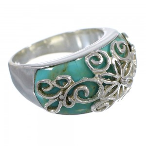 Turquoise Inlay Silver Jewelry Ring Size 7-1/2 X79654