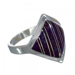 Southwest Silver Magenta Turquoise Inlay Ring Size 8-1/4 QX74343