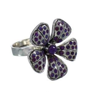Authentic Sterling Silver Magenta Turquoise Flower Ring Size 7-1/2 QX74566