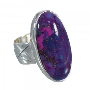 Southwest Magenta Turquoise Silver Ring Size 5-3/4 QX74252