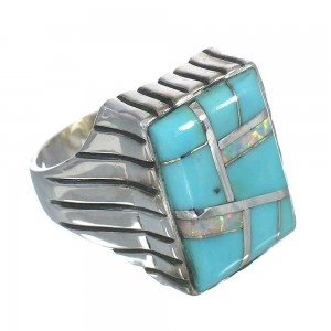 Opal And Turquoise Inlay Authentic Sterling Silver Ring Size 12-1/4 RX61570