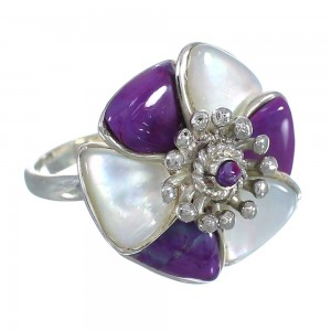 Genuine Sterling Silver Magenta Turquoise Mother Of Pearl Flower Ring Size 7-3/4 RX61430