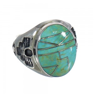 Turquoise Southwestern Authentic Sterling Silver Jewelry Ring Size 10-3/4 QX80649