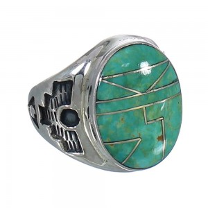 Southwest Turquoise Authentic Sterling Silver Jewelry Ring Size 12-1/4 QX80676