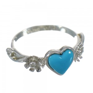 Turquoise Silver Flower Heart Ring Size 7-1/4 RX62416