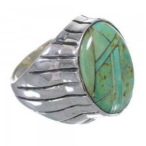 Turquoise Inlay Sterling Silver Ring Size 10-1/2 VX61365