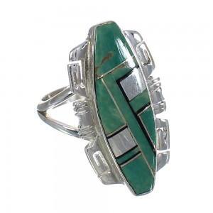Southwest Turquoise And Jet Inlay Silver Ring Size 5 AX82395