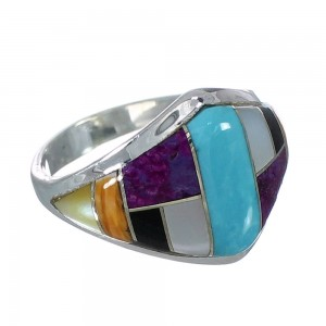 Southwestern Multicolor Sterling Silver Ring Size 7-3/4 YX74961
