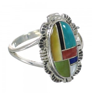Authentic Sterling Silver Multicolor Inlay Ring Size 5-3/4 YX75010