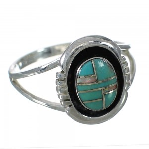 Turquoise And Opal Genuine Sterling Silver Southwestern Ring Size 5-3/4 WX70463