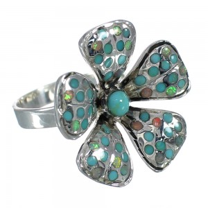Sterling Silver Turquoise And Opal Flower Ring Size 5-3/4 WX70637
