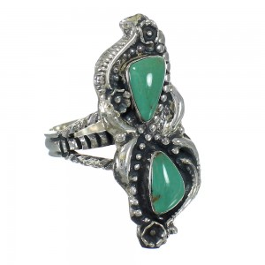 Southwestern Sterling Silver And Turquoise Ring Size 8-1/4 RX62813