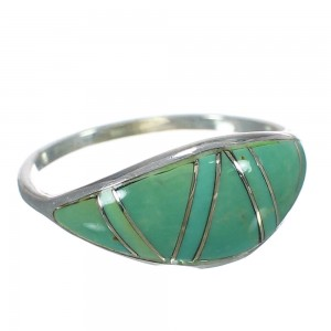 Southwestern Turquoise Inlay And Genuine Sterling Silver Ring Size 5-3/4 WX62796