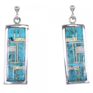 Turquoise Opal Genuine Sterling Silver Post Dangle Earrings RX66461